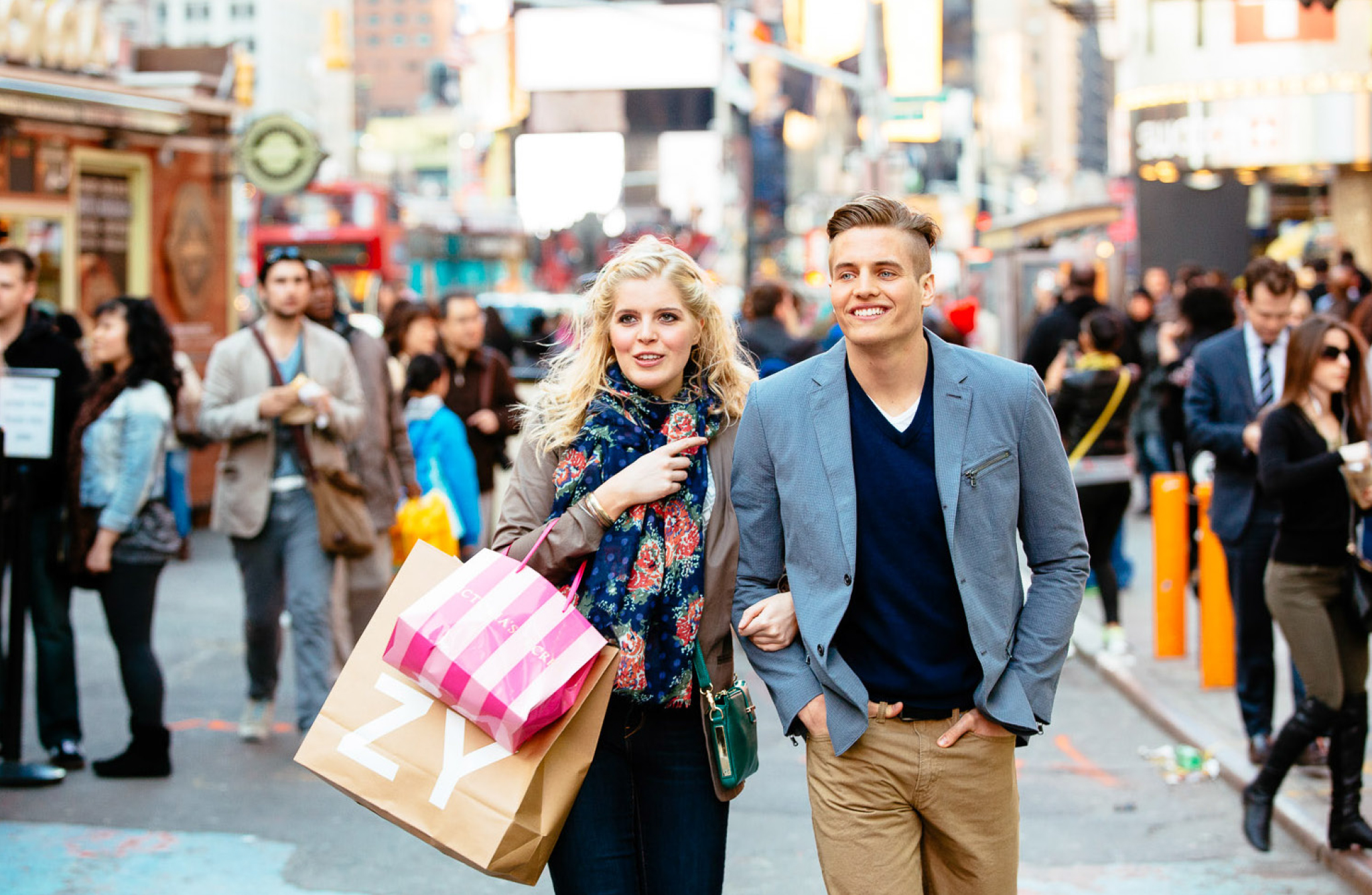 Couple shopping near 20 Times Square location