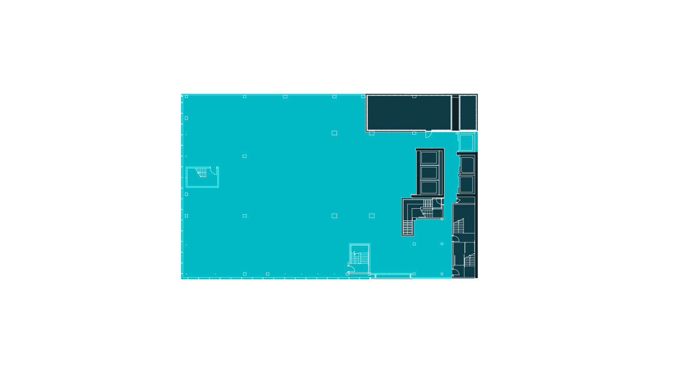 Floorplan of the second floor at 20 Times Square