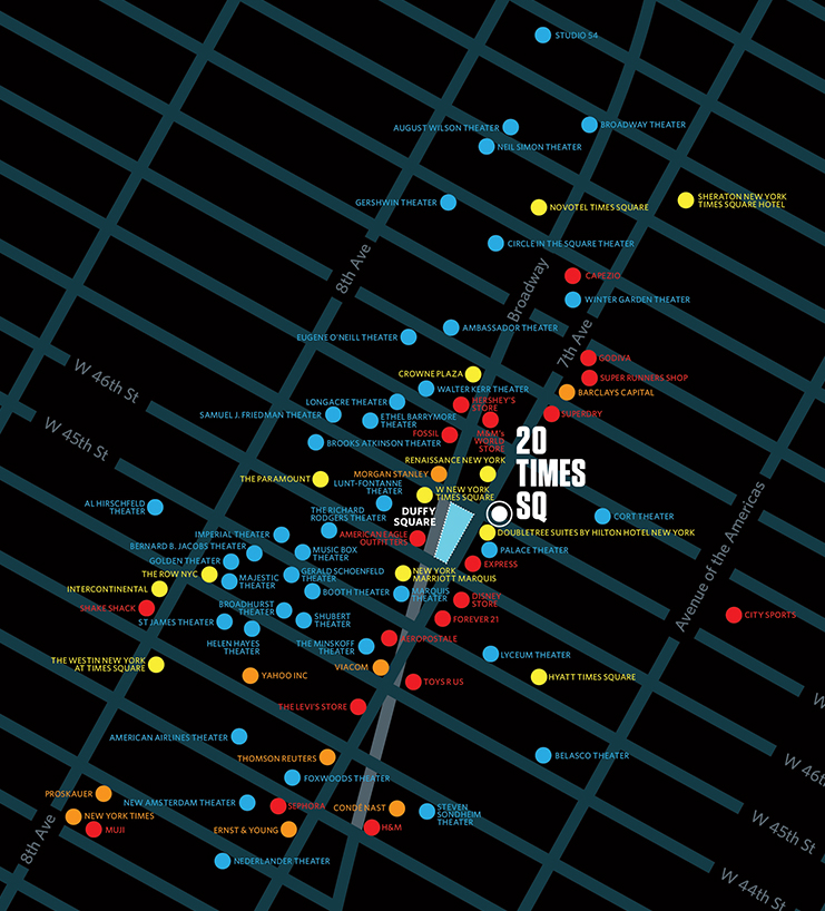 20 Times Square map with retail, hotel, theatre and corporate locations marked